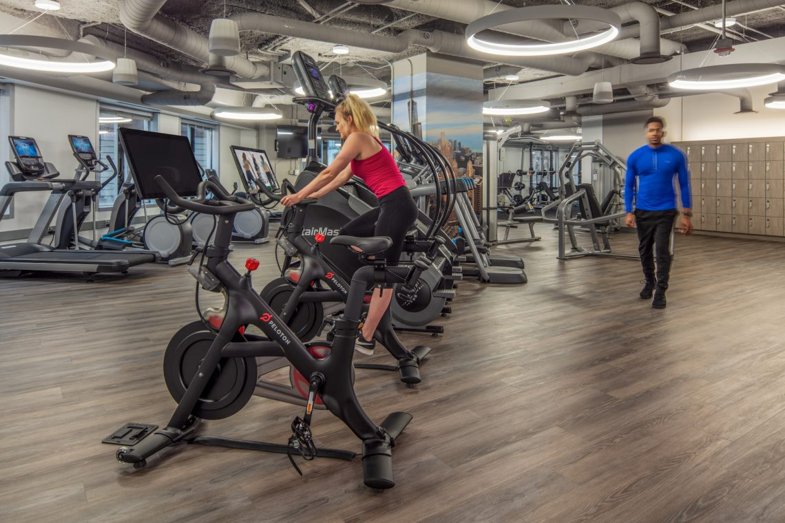 Modern fitness center with various exercise equipment options located at 311 South Wacker