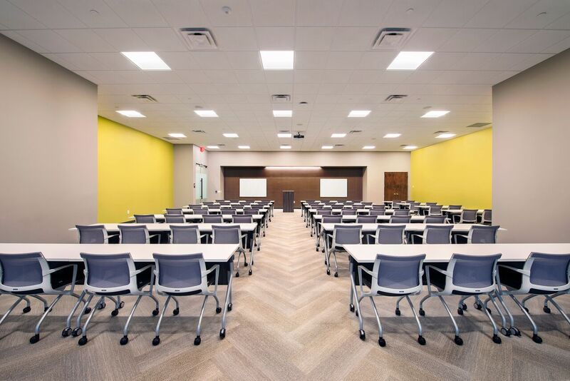 Modern Conference and training room with seating for up to 100 people in the Meridian Mark Buildings