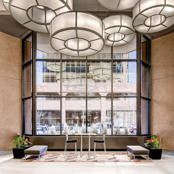 Lodo Tower at 1401 17th Street in Denver lobby, window and lighting.