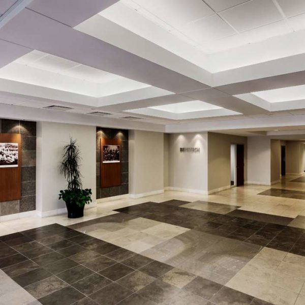 The lobby and elevators at Zeller's 2245 Sequoia Drive building in Aurora, IL.