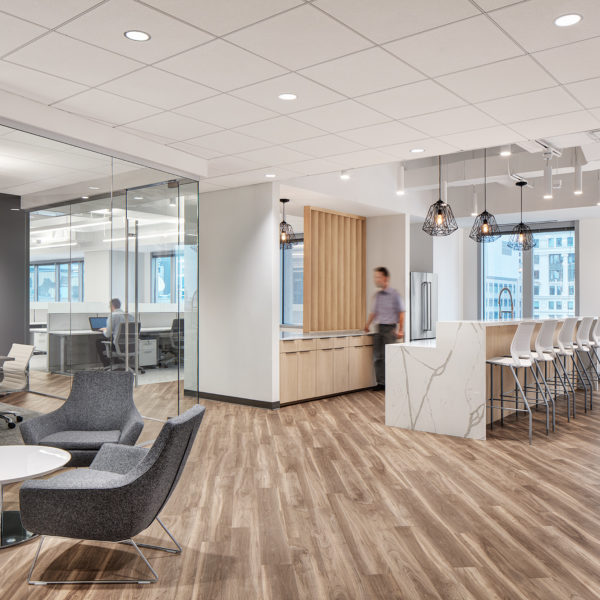 Open break and kitchen area within 311 South Wacker space.