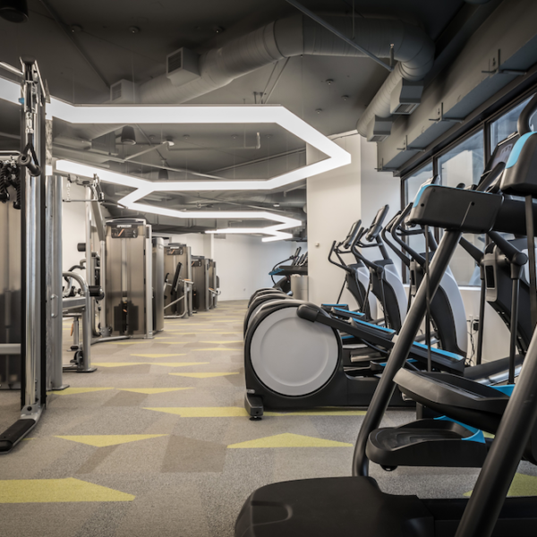 The fitness center located in the Zeller managed Capital Center in Indianapolis, IN.