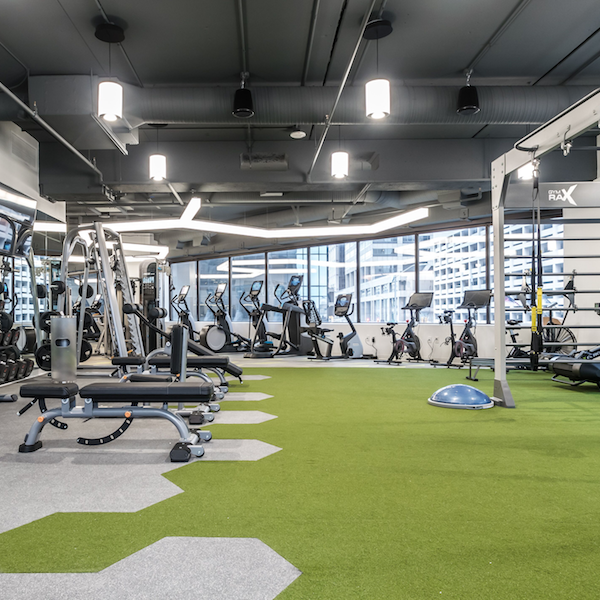 The weight lifting equipment in the fitness center at the Zeller managed Capital Center.