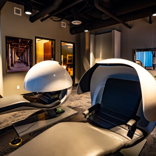 Sleeping pods located inside the Fifth Street Towers office building in downtown Minneapolis, MN