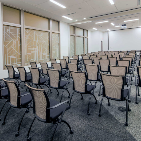Empty conference center room at the Zeller managed LaSalle Plaza in downtown Minneapolis.