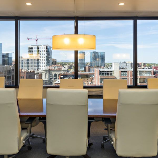 Zeller managed LoDo Towers conference room overlooking downtown Denver, CO.
