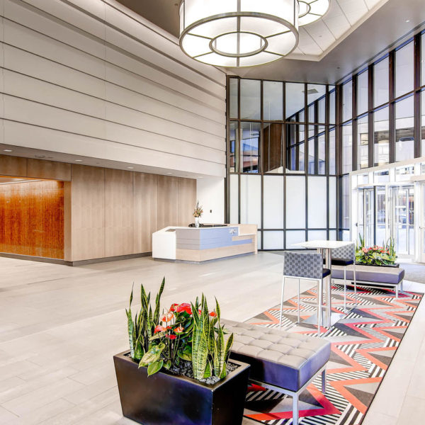 The lobby seating area at LoDo Towers managed by Zeller Real Estate in downtown Denver.