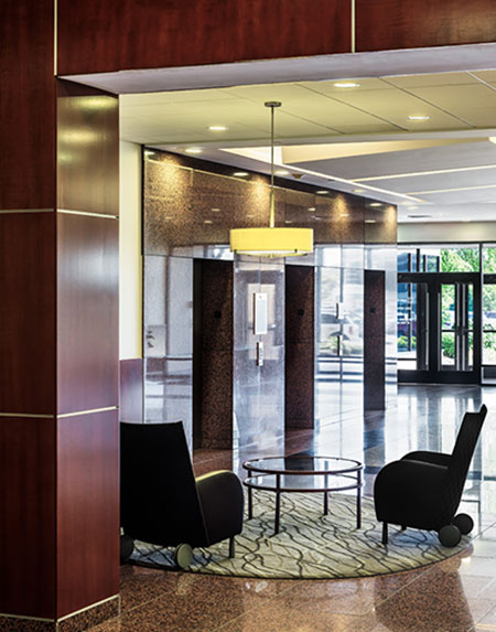 Lobby and chairs inside the Meridian Mark II office building managed by Zeller.