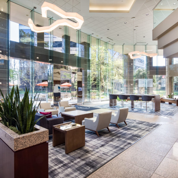 The Atlanta, GA, Zeller managed Premier Plaza office building lobby and chairs, scaled.