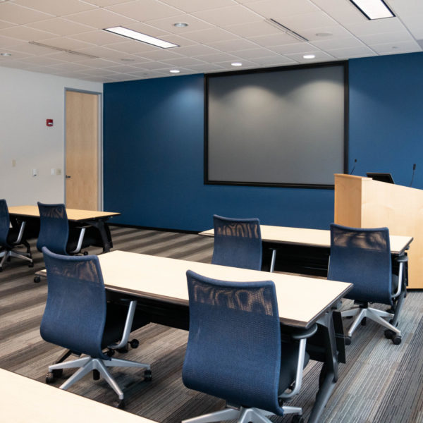 Company classroom inside the Zeller managed Riverwood Corporate Center in Pewaukee, WI.