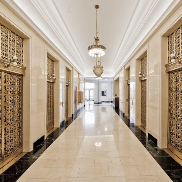 The elevators and hallway in the historic Wrigley Building in downtown Chicago, IL.