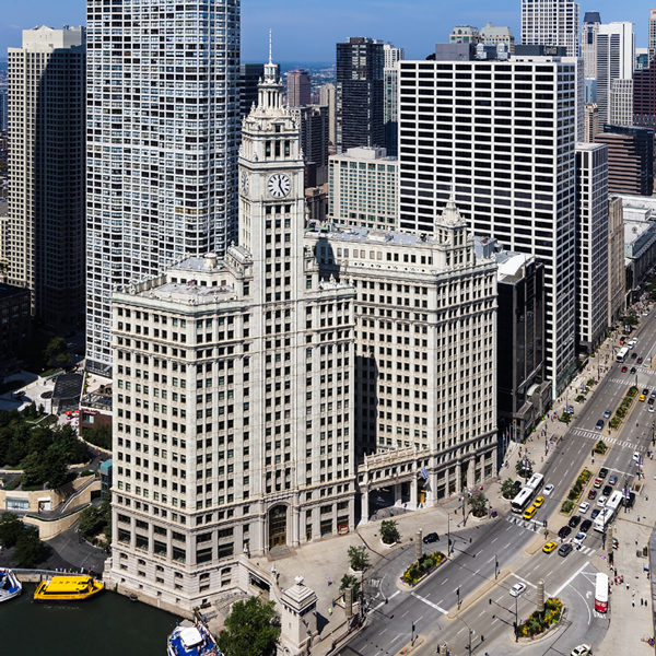 The Wrigley Building on Michigan Avenue in downtown Chicago and managed by Zeller.