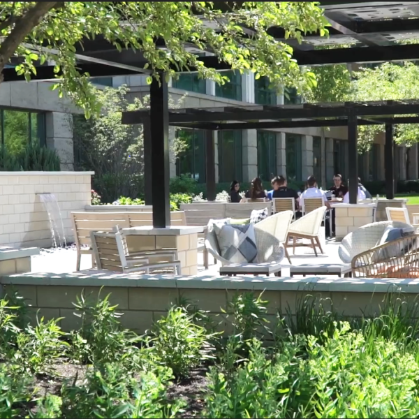 Woodfield Preserve Office Center has a beautiful outdoor courtyard for working or meetings.
